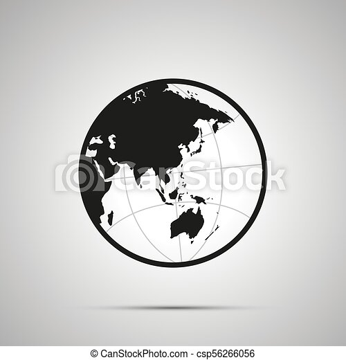 Asia And Australia Side Of World Map On Globe Simple Black Icon
