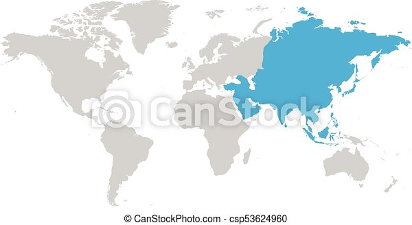 Asia continent blue marked in grey silhouette of world map clip