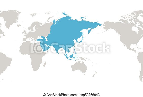 Asia continent blue marked in grey silhouette of world map centered asia continent blue marked in grey silhouette of world map centered on asia simple flat vector illustration gumiabroncs Choice Image