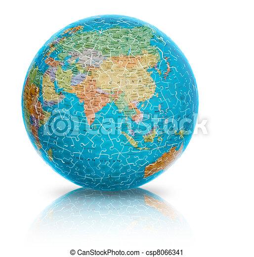 Asia Globe puzzle isolated on white - csp8066341