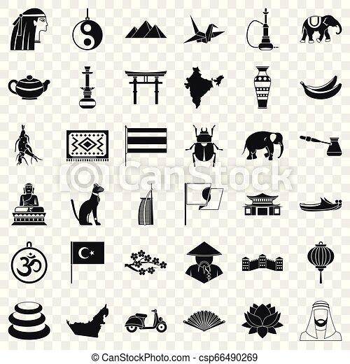 Asia icons set, simple style - csp66490269