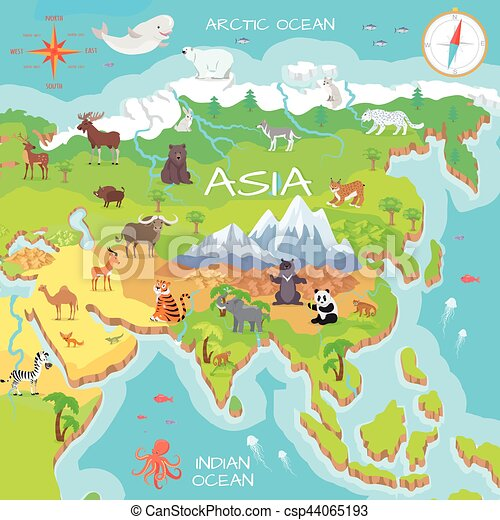 Asia Mainland Cartoon Map with Fauna Species on norristown map, franconia map, ambler map, milford map, lafayette hill map, warrington map, upper darby map, blue bell map, souderton map, lansdale map, lincoln university map, frederick map, orkney map, wayne map, conshohocken map, valley forge map, pentland firth map, new hope map, monroeville map, media map,