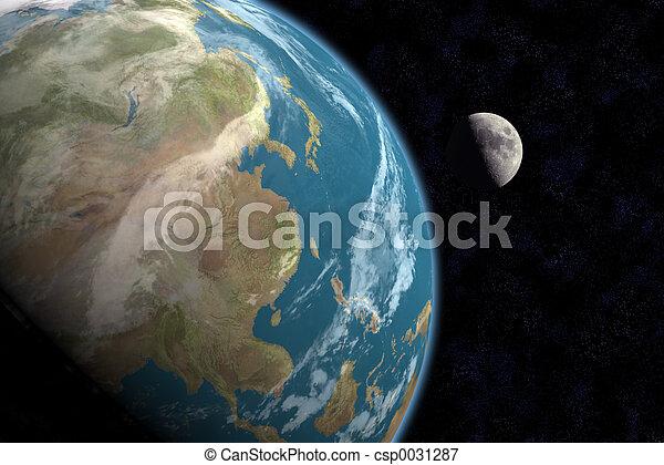 Asia & Moon w/Stars - csp0031287