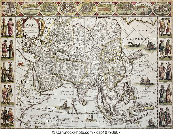 Asia old map created by willem bleau published in stock asia old map csp10798607 publicscrutiny Gallery