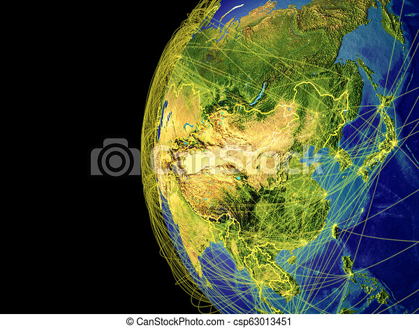 Asia on globe from space - csp63013451