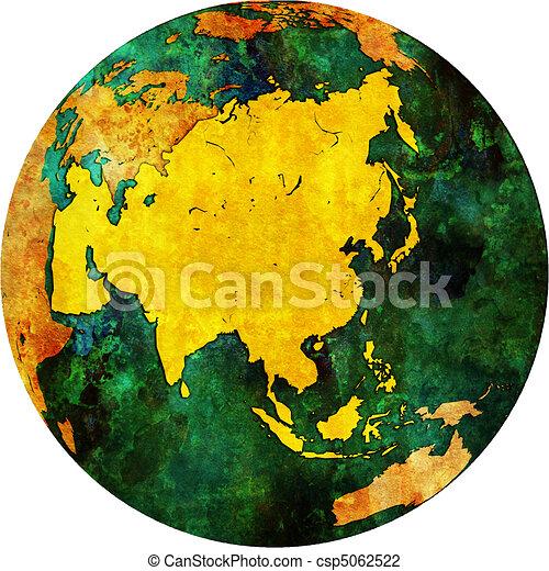 asia on globe map csp5062522