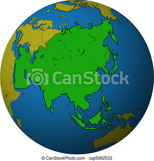 asia on globe map csp5062533