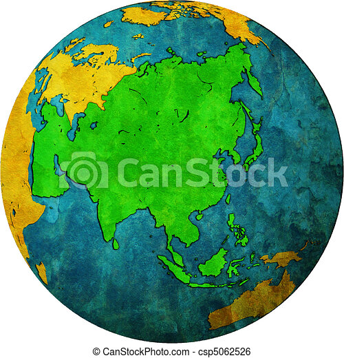 asia on globe map - csp5062526