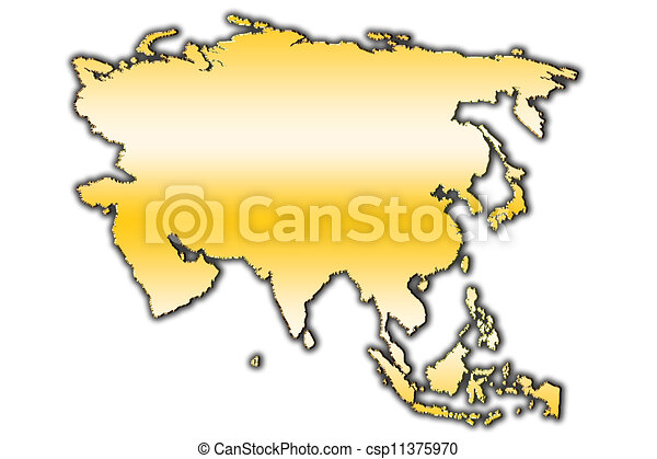 Asia outline map. Outline map of asia covered with gradient.