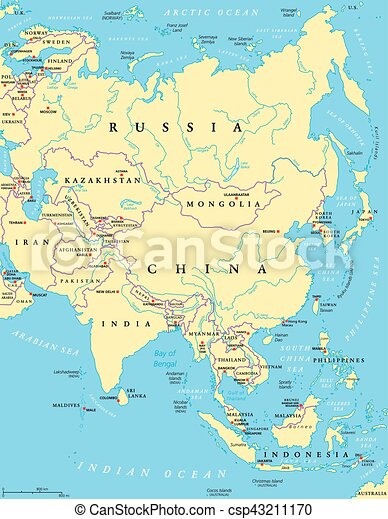 asia political map with capitals national borders rivers and lakes largest continent with the countries russia china india indonesia and smaller ones
