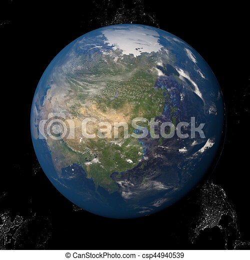 Asia seen from space 3d illustration - csp44940539