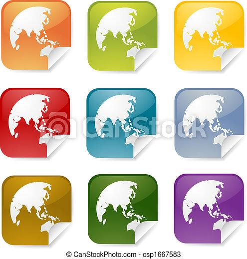 Asia square sticker - csp1667583