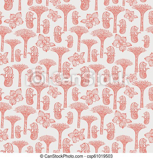 Asia Travel Singapore Outline Sketch Vector Pattern