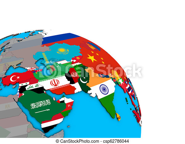 Asia with flags on 3D globe - csp62786044