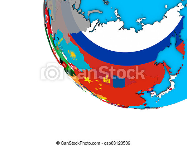 Asia with flags on 3D globe - csp63120509