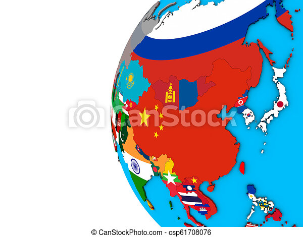 Asia with flags on 3D globe - csp61708076
