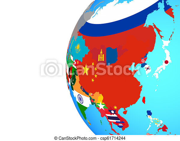 Asia with flags on globe - csp61714244