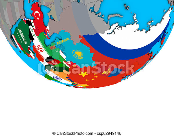 Asia with flags on globe - csp62949146