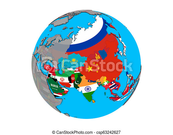 Asia with flags on globe isolated - csp63242627