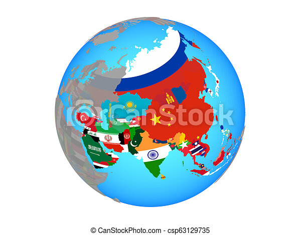 Asia with flags on globe isolated - csp63129735