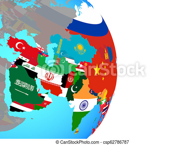 Asia with flags on globe - csp62786787