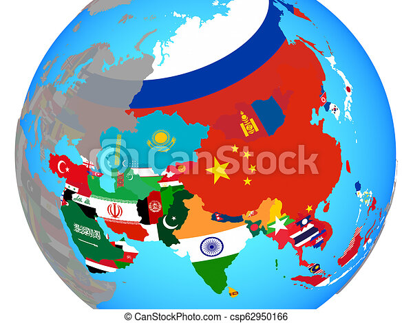 Asia with flags on map - csp62950166