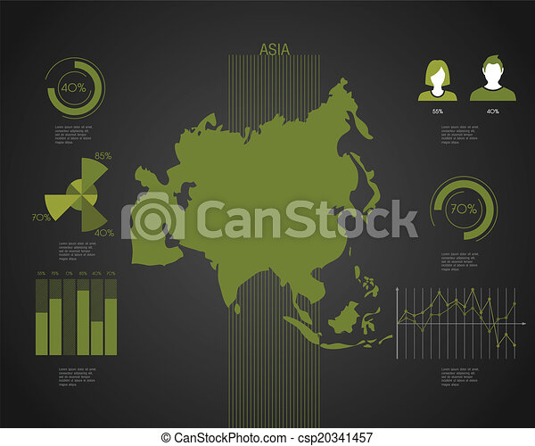 Asia world map with different colored continents illustration asia world map csp20341457 gumiabroncs Images