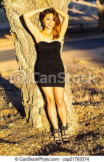 Asian American Woman Black Dress Outdoors Skinny - csp21763374