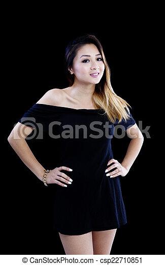 Asian American Woman Little Black Dress Standing - csp22710851