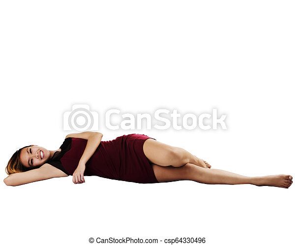 Asian American Woman Reclining In Red Dress - csp64330496