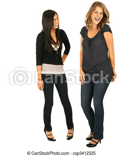 Asian And Caucasian Girls Laughing - csp3412325