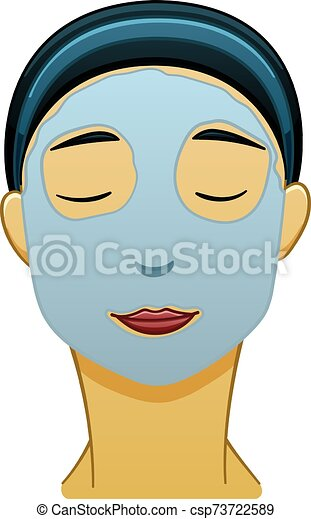 Asian black-haired woman with blue face mask - csp73722589