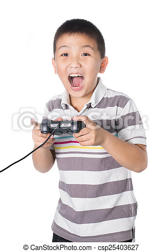 Asian boy with a joystick playing video games, isolated on white - csp25403627