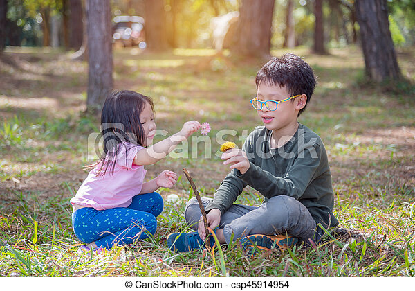 Asian brother and sister playing together on grass field - csp45914954