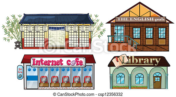 Asian building, Pub, Internet cafe, and a library - csp12356332