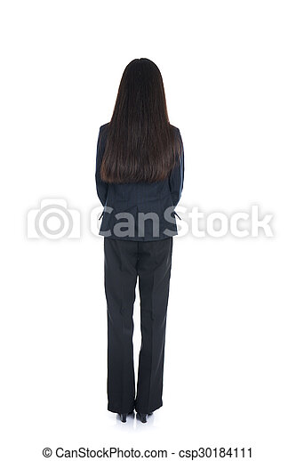 Asian business woman from the back - looking at something isolated over white background - csp30184111