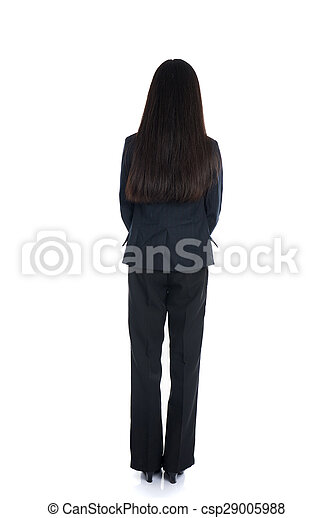Asian business woman from the back looking at something isolated over white background - csp29005988