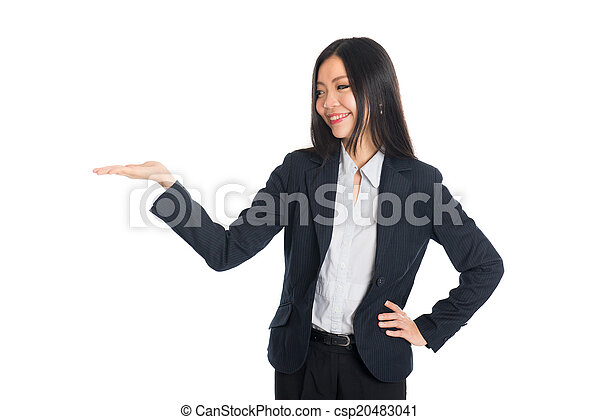 Asian business woman indicate blank space isolated - csp20483041