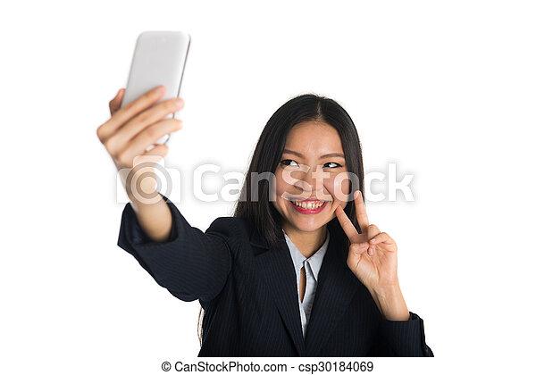 asian business woman selfie - csp30184069