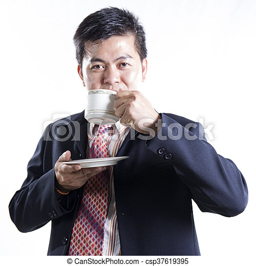 Asian Businessman drink the coffee - csp37619395
