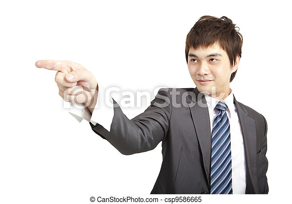 asian businessman finger pointing  - csp9586665