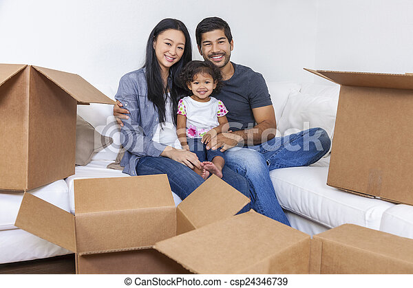 Asian Chinese Family Unpacking Boxes Moving House - csp24346739