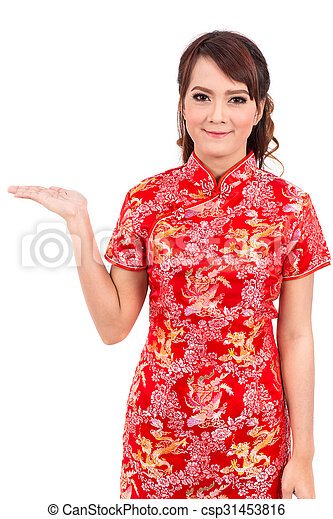 Asian chinese girl greeting in traditional chinese welcome guest asian chinese girl greeting in traditional chinese welcome guest chinese new year m4hsunfo