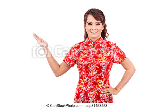Asian chinese girl greeting in traditional chinese welcome asian chinese girl greeting in traditional chinese welcome guest chinese new year m4hsunfo