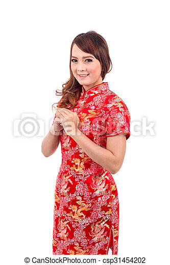 Asian chinese girl greeting in traditional chinese chinese new year asian chinese girl greeting in traditional chinese chinese new year csp31454202 m4hsunfo