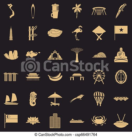 Asian country icons set, simple style - csp66491764