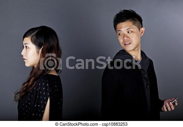 Asian couple first meeting - csp10883253