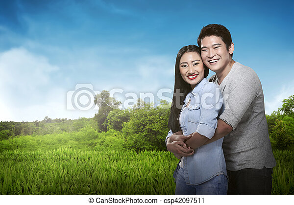 person Hug an day asian