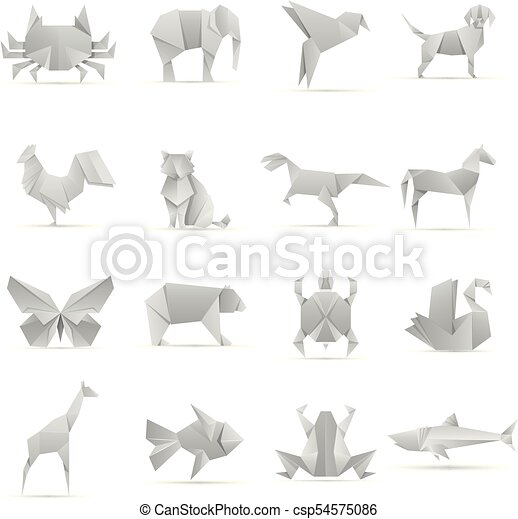Asian Creative Origami Animals Vector Collection Animal Geometric - Origamis-animales
