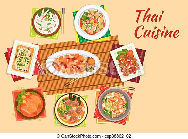 Asian Cuisine Dinner With Thai Dishes Flat Icon